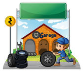 A boy pushing the tire below the empty signboard — Stock Vector