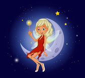A fairy holding a magic wand sitting at the crescent moon — Stock Vector
