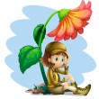 Stock Vector: An adventurer under the shade of a flower