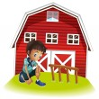 A sad boy in front of the barnhouse — Stock Vector