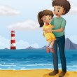 A father and a daughter at the beach — Stock Vector