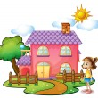 A girl in front of their house — Stock Vector