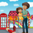 A father and his child near the toy store — Imagen vectorial