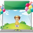 A young boy standing below the empty signage in the hill — Stock Vector