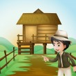 Stock Vector: A boy with a hat standing near the nipa hut