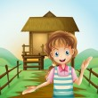 Stock Vector: A girl in front of the nipa hut