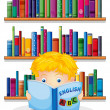 A boy in the library reading an English book — Stock Vector