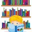 A boy in the library reading an English book — Stock Vector #29216649