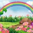 An enchanting garden with a rainbow — Stock Vector