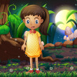 A little girl in the forest wearing a yellow dotted dress — Stock Vector