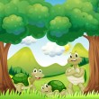Stock Vector: Three turtles in the woods
