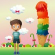 A boy standing near the big ice cream — Stockvektor
