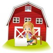 A girl sitting in front of the barnhouse holding an empty signbo — Stock Vector