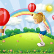 A girl playing in the hill with floating balloons — Stock Vector