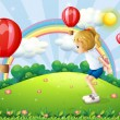 Stock Vector: A girl playing in the hill with floating balloons