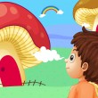 A young boy watching the giant mushroom houses — Stock Vector