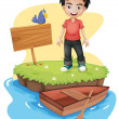 A boy near the empty signboard with a bird — Stock Vector