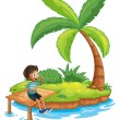 A boy sitting above the bridge in an island — Stock Vector