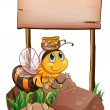 A bee above the rock near the empty signage — Stock Vector
