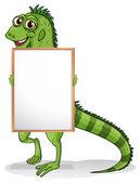 An iguana holding a framed board — Stock Vector