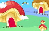 Mushroom houses — Stock Vector