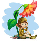 An adventurer under the shade of a flower — Stock Vector