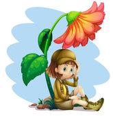 An adventurer under the shade of a flower — Stock Vector