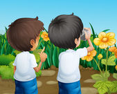 Two boys taking photos of the flowers — Stock Vector