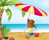 A young girl playing with the castle at the beach — Stock Vector