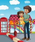 Ojca i jego dziecko, w pobliżu sklep z zabawkami — Wektor stockowy