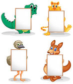 Wild animals with empty bulletin boards — Stock Vector