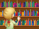 A girl selecting books — Stock Vector