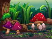 在森林里的巨型蘑菇 — 图库矢量图片