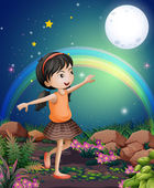 A happy young girl playing near the flowers — Stock Vector