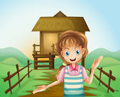 A girl in front of the nipa hut — Stock Vector