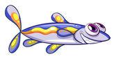 An elongated blue fish — Stock Vector