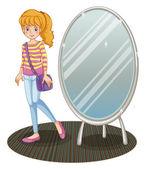 A girl beside a mirror — Stock Vector