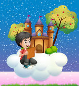 A boy reading a book in front of the floating castle — Stock Vector