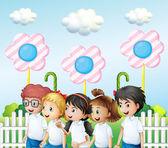 Children in the garden — Stock Vector