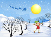 An elf in a snowy place — Stock Vector