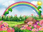 Un jardin enchanteur avec un arc en ciel — Vecteur