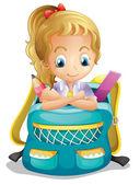 A school girl inside a schoolbag — Stock Vector
