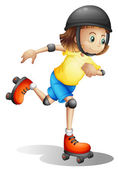 A young girl rollerskating — Stock Vector