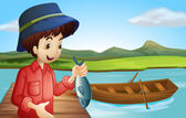 A fisherman with a fish — Stock Vector