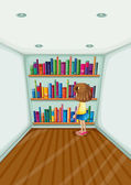 A young girl in front of the bookshelves with books — Stock Vector