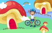 A young biker near the giant mushroom house — Stock Vector