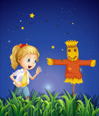 A young girl beside the scarecrow — Stock Vector