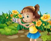 A girl taking photos at the garden — Stock Vector