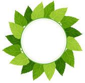 A round green leafy border — Stock Vector