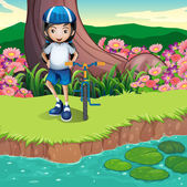 A girl and her bicycle at the riverbank — Vetor de Stock